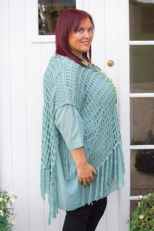 Sage Netted Tassel Poncho