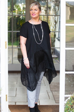 Black Comfort Waterfall Top