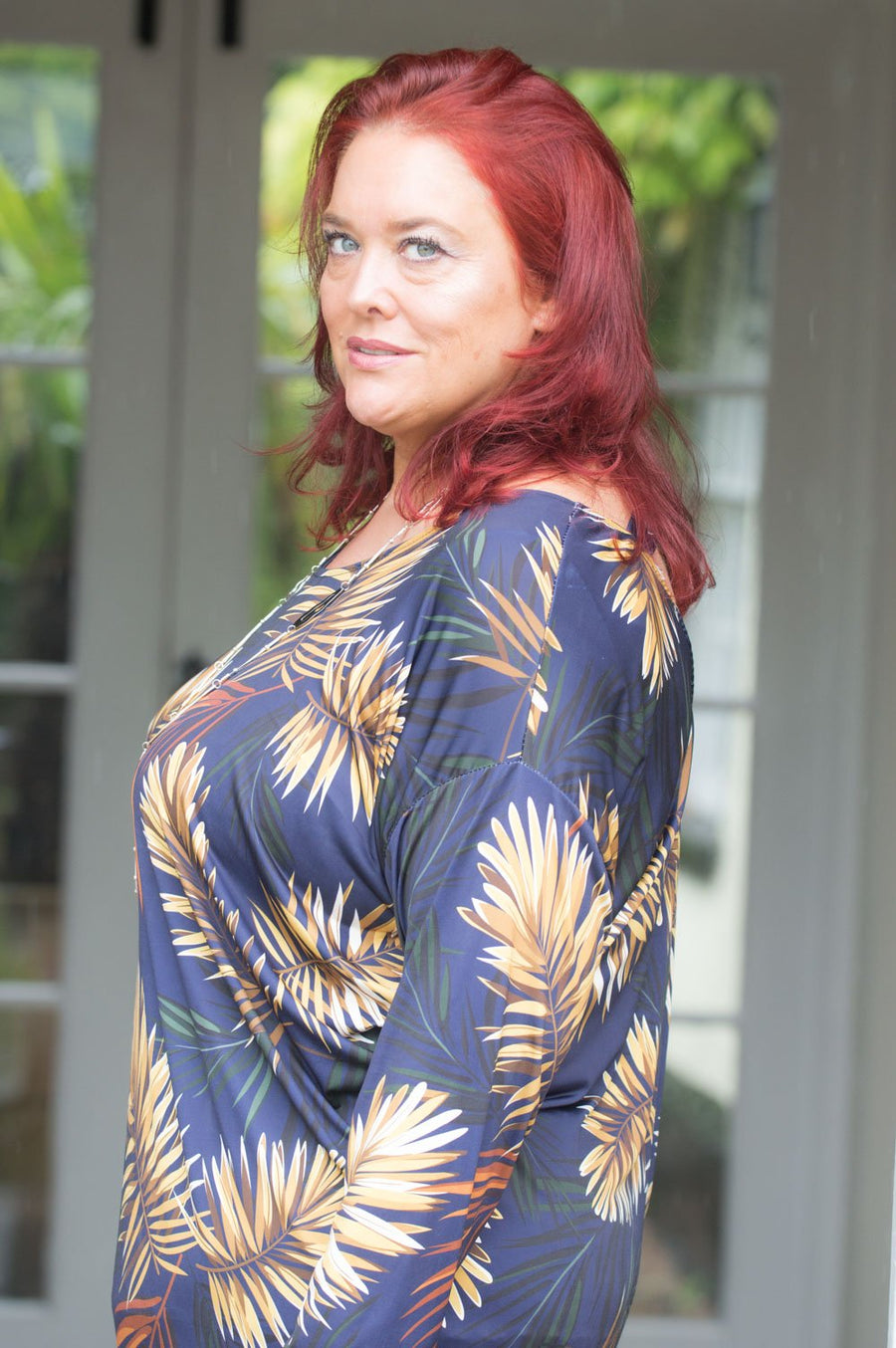 Navy & Gold Tropical Pattern Top/Dress