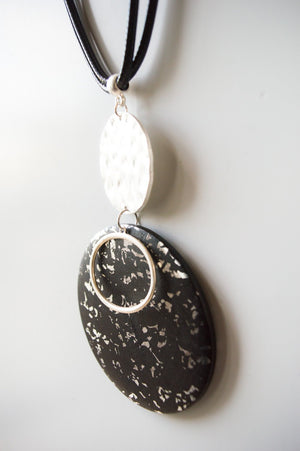 Long Black & Silver Flecked Shell Necklace