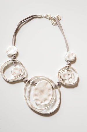 Abstract Silver Statement Necklace - Mandy's Heaven