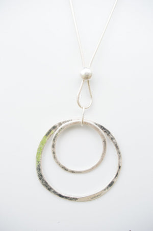 Long Silver Circle Charm Necklace