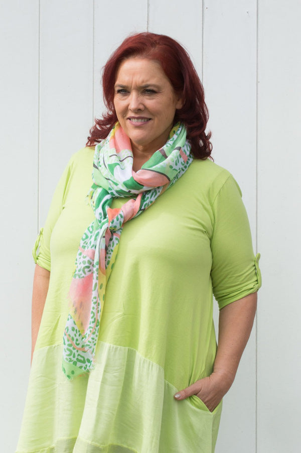 Neon Green, Pink & Yellow Abstract Scarf
