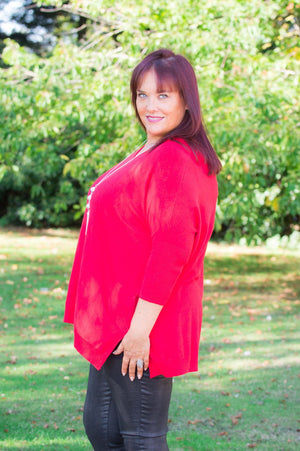 Red V-Neck Batwing Jumper