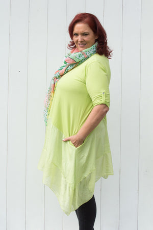 Lime Silk Waterfall Dress Curve