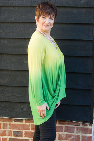 Lime Ombre Cross Over Jersey Top