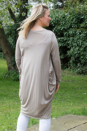Taupe Long Jersey Top Curve