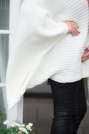 Cream Roll Neck Chunky Knit