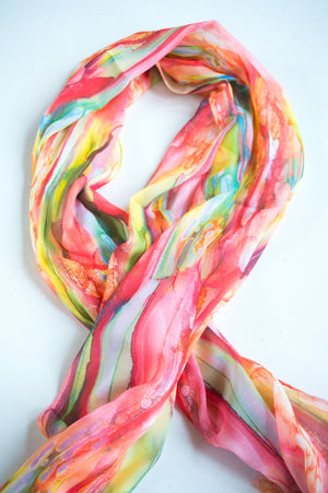 Red Watercolour Print Scarf