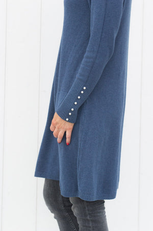 Denim Pearl Sleeve Detail Long Jumper - Mandy's Heaven