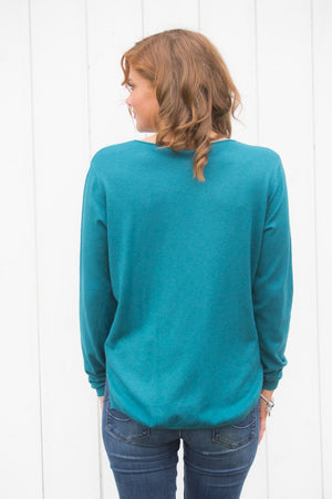 Teal and Silver Lightweight Heart Jumper