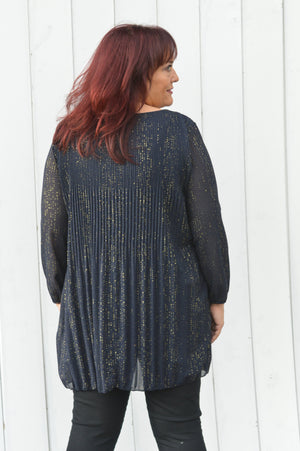 Navy Sparkle Pleated Blouse Dress/Top