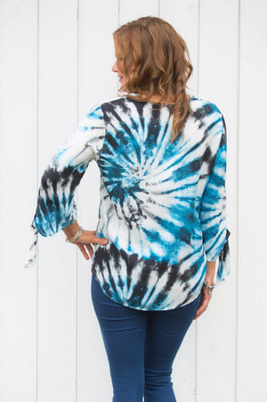 Blue Tie Die Button-Up Top