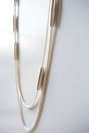 Long Silver Layered Rope Necklace