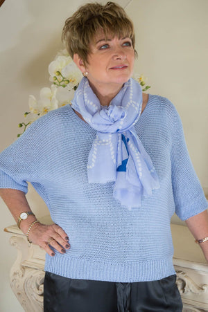 Dusty Blue Batwing Knitted Jumper