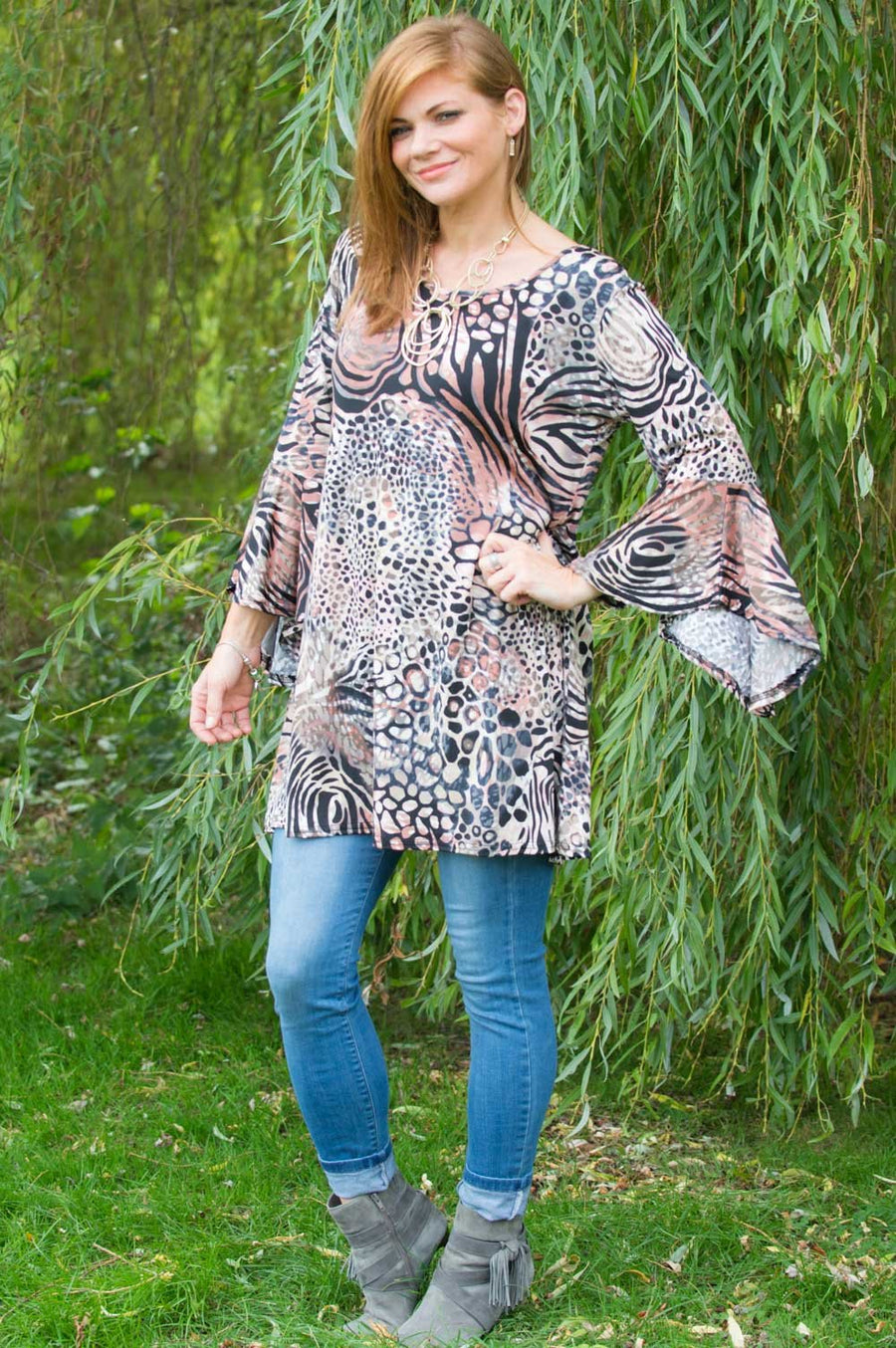 Rouge Animal Print Bell Sleeve Top