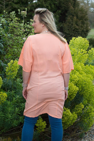 Peach Tulip Linen Dress