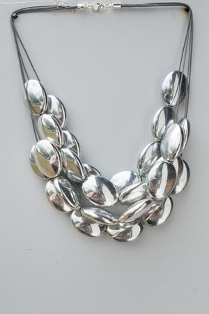 Short Silver Clustered Bead Necklace