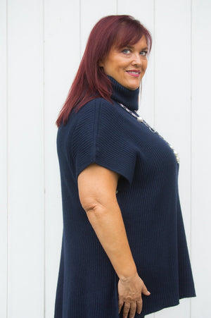Navy Roll-Neck Button Poncho