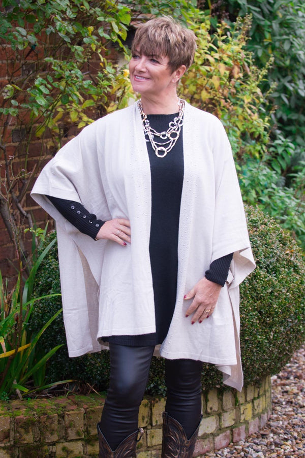 Beige Gem Sleeveless Cardigan