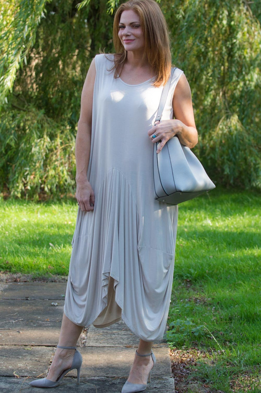 Beige Sleeveless Dress Curve - Mandy's Heaven