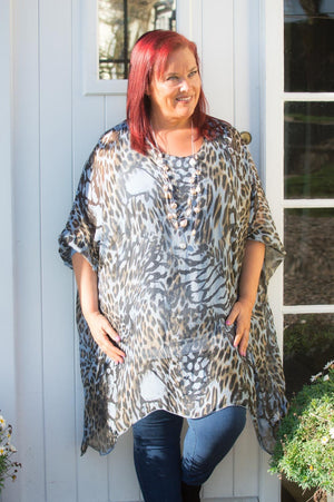 Blue Animal Print Silk Waterfall Top