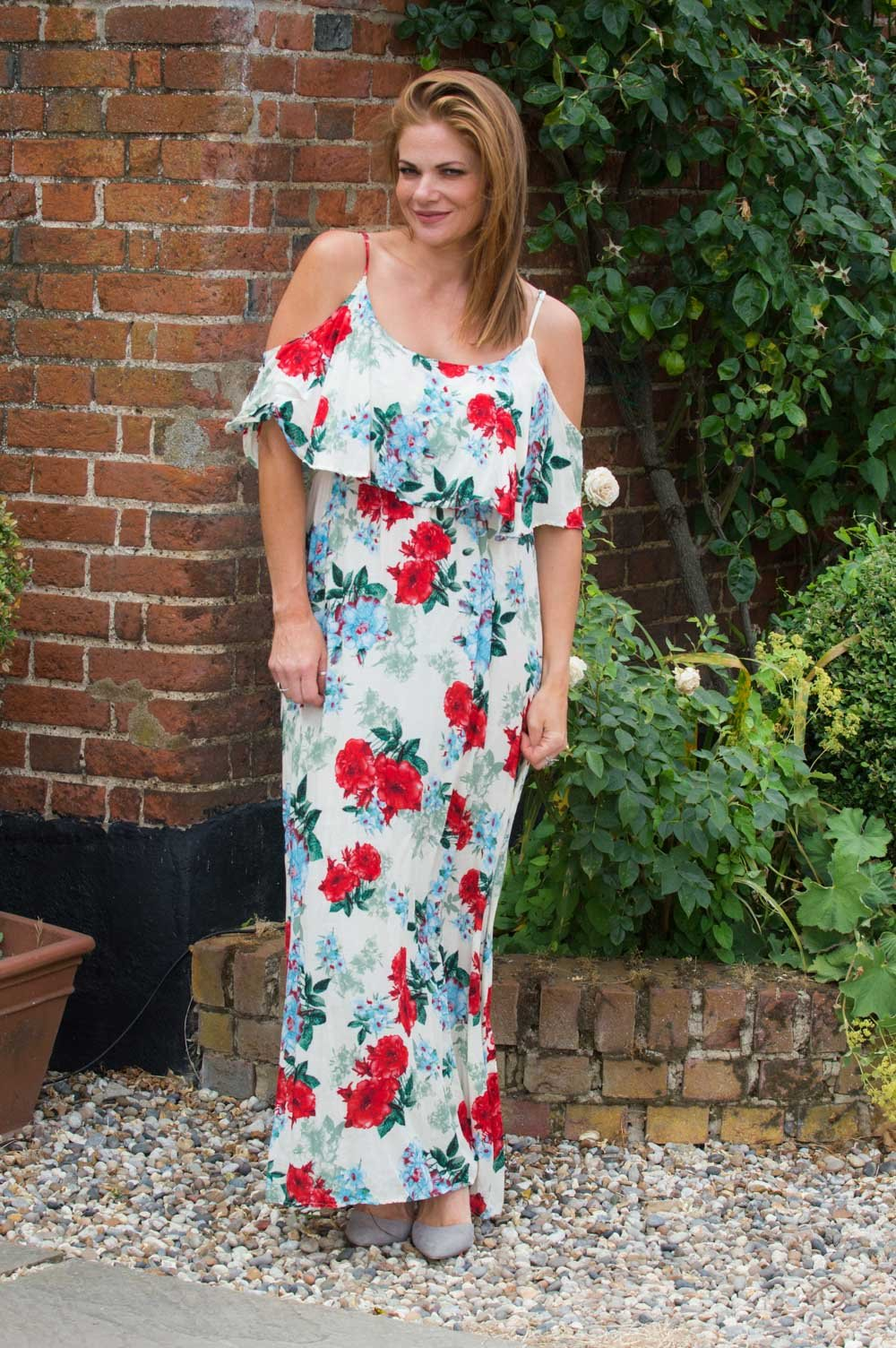 Cream Red And Blue Floral Maxi Dress