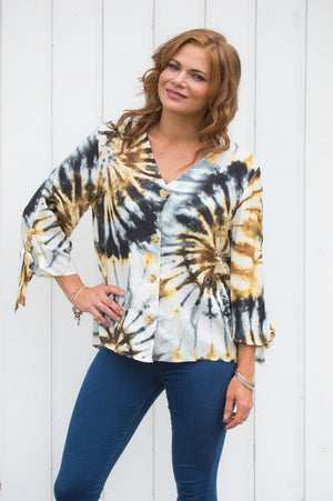 Gold Tie Die Button-Up Top