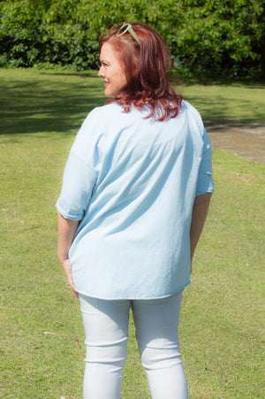 Light Blue Sequin Star Jersey Top