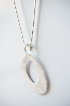 Long Silver Cutout Shell Necklace