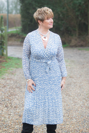 Pastel Blue Spotted Belted Dress
