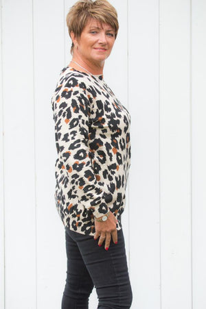 Tan Leopard Print Lightweight Jumper