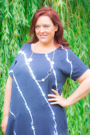 Navy Tie Dye Silk & Linen Top