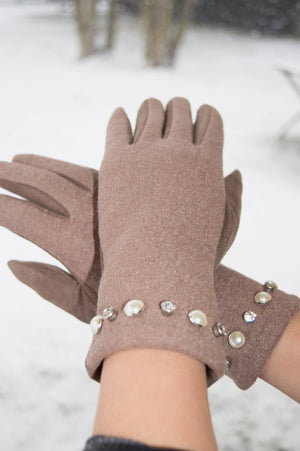 Taupe Pearl and Diamante Glove