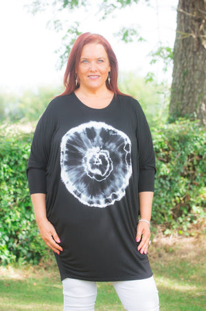 Black Circular Tie Dye Top