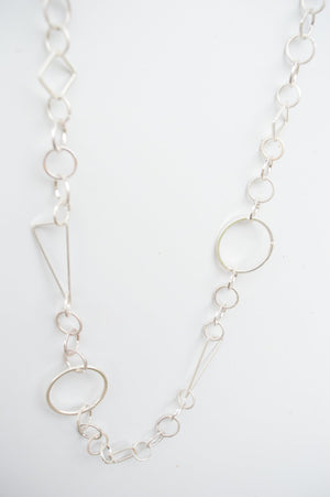 Long Silver Geometric Necklace