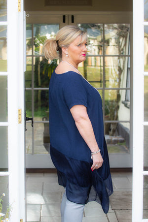 Navy Comfort Waterfall Top