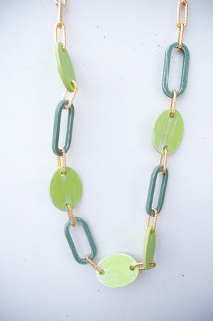 Long Green Wooden Shell Chain Necklace