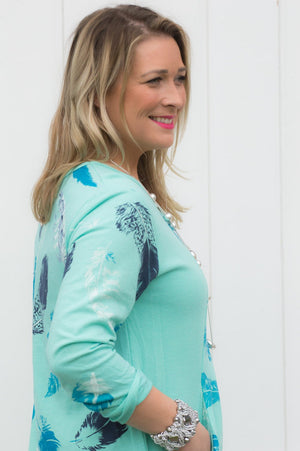 Mint Feather Print Asymmetric Top