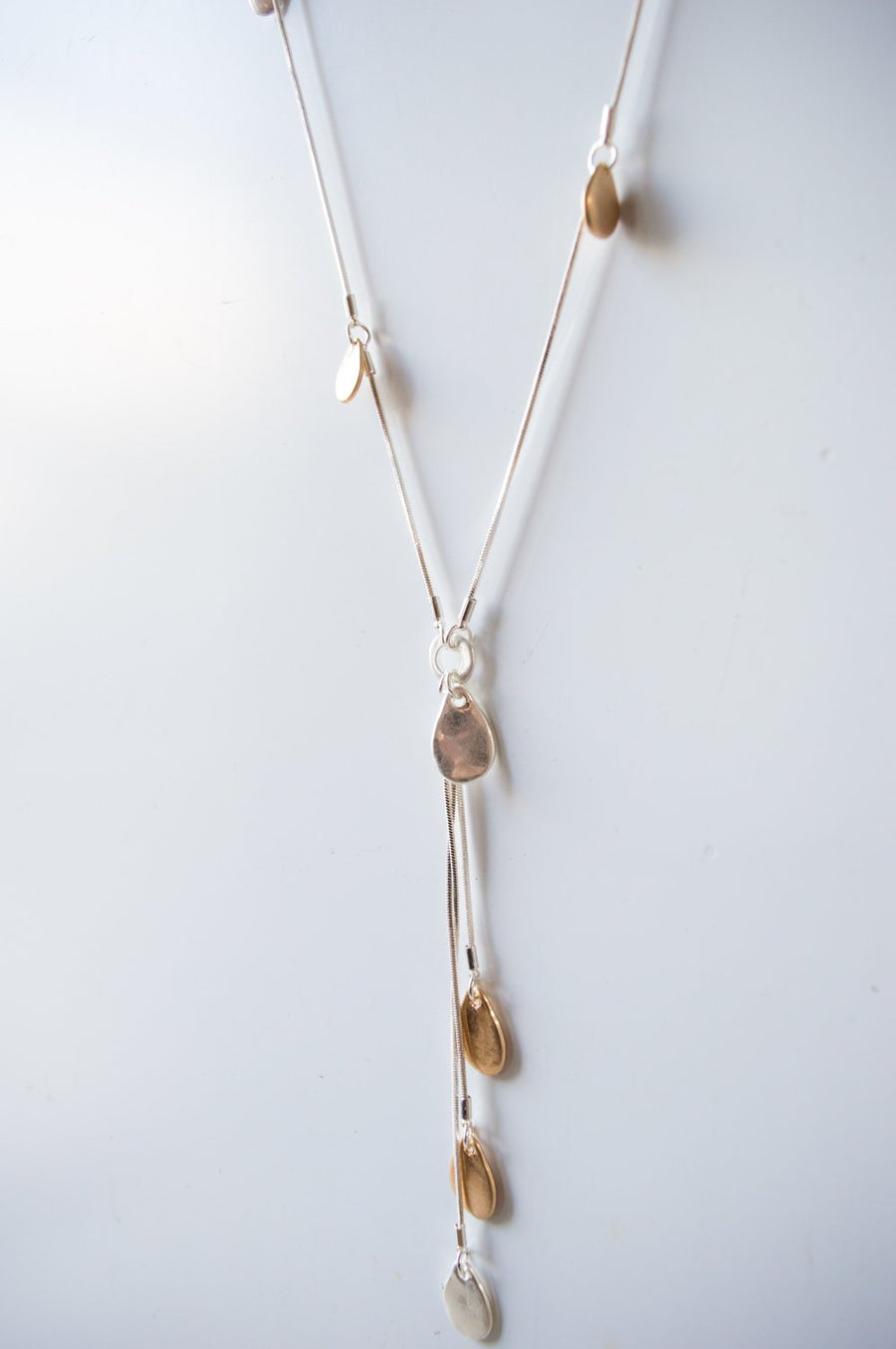 Long Silver & Gold Clustered Tear Drop Necklace