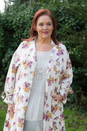 Cream and Pink Floral Trench Jacket