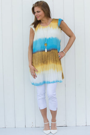 Blue & Yellow Ombre Pleated Top