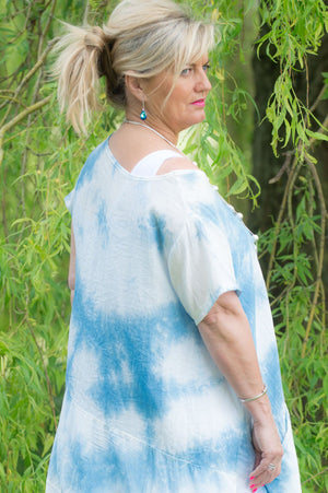 Light Blue Tie Dye Silk Detail Waterfall Long Top