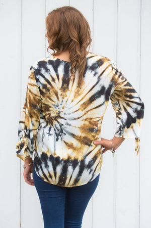 Gold Tie Dye Button-Up Top