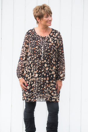 Beige Abstract-Spot Longline Top