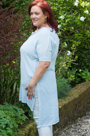 Light Blue V Neck Side Split Tunic