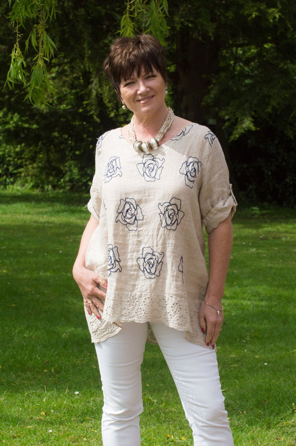 Beige & Navy Floral Stitch Linen Top