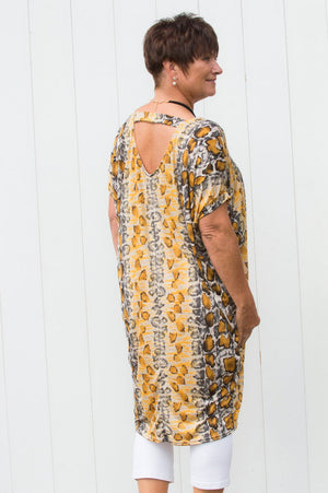 Mustard Snake-Print Tapered Top/Dress