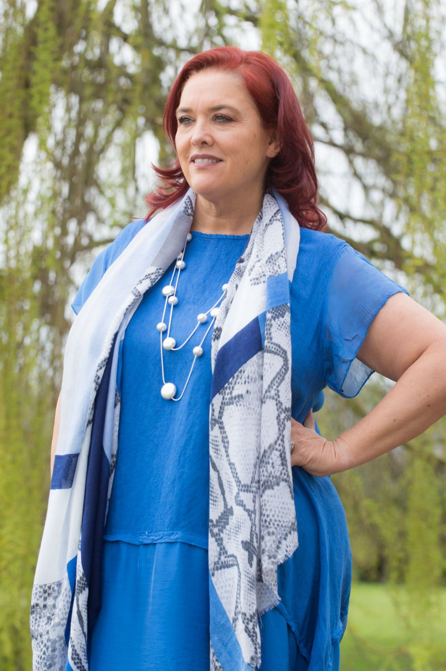 Royal Blue Linen & Silk Tunic Curve