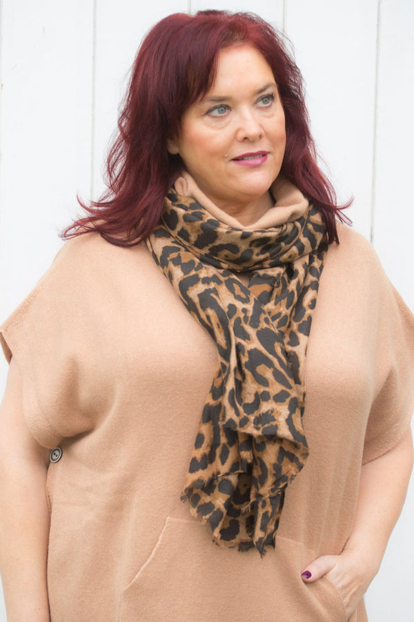 Brown Leopard Print Scarf